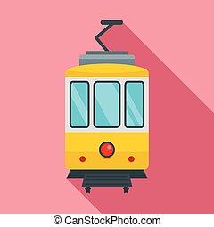 City tramcar icon, flat style - City tramcar icon. Flat ...