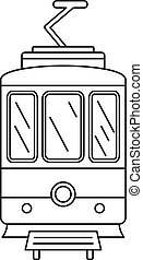 City tramcar icon, outline style - City tramcar icon. ...