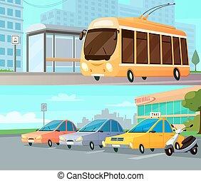 City Transport Cartoon Compositions