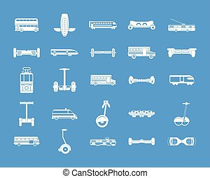 City transport icon blue set vector