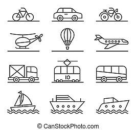 City transport icons set