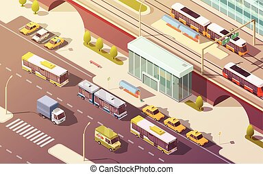 City Transport Isometric Illustration