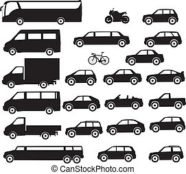 Large quantity of silhouettes of city vehicles
