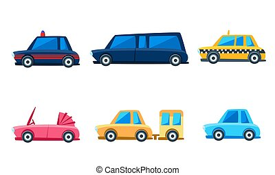 City Transport Set, Cute Colorful Childish Vehicles Vector Illustration