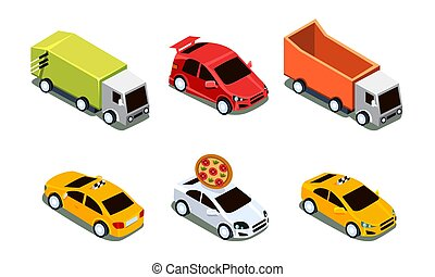 City Transport Set, Urban Public and Freight Vehicles Vector Illustration