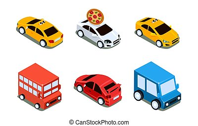 City Transport Set, Urban Public and Personal Vehicles Vector Illustration