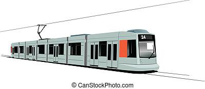 City transport. Six Trams. Vector i