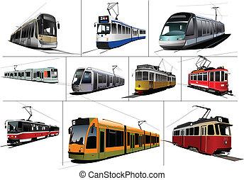 City transport. Ten kinds of Tram. Vintage and modern. Vector illustration