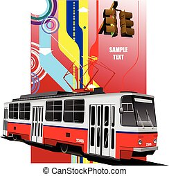 City transport. Tram. Colored Vecto