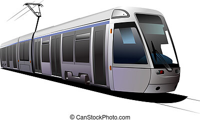 City transport. Tram. Vector illustration