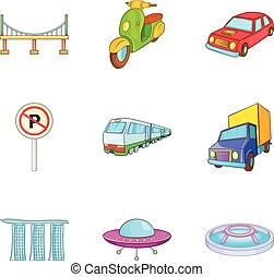 City transport types icon set, cartoon style - City...