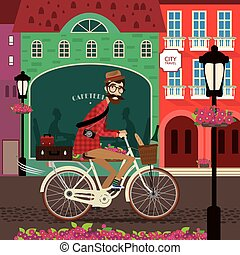 City travel by bicycle - Vector illustration featuring city...
