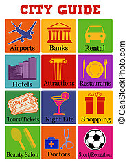 City travel guide icons on color background, vector ...