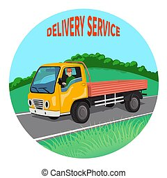 City truck with driver