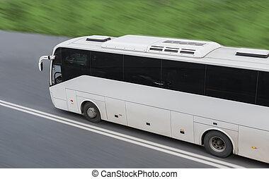 city., turista, autobús, grande, exterior, mudanza, por, camino