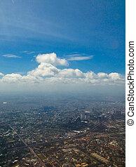 city under high blue sky
