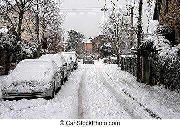 City under the snow