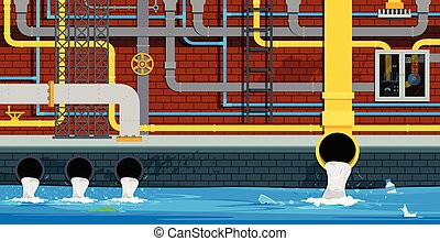 City underground pipe - The drainage and sewer system is...