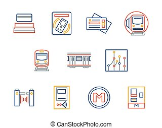 City underground transport color line vector icons