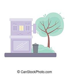 city urban building street tree scene isolated design icon