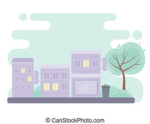 city urban street buildings commercial residential structure design vector illustration