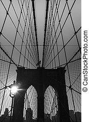 city., usa., brooklyn, york, nuevo, puente