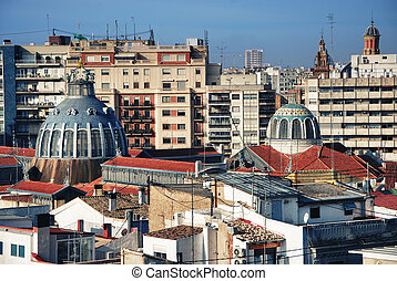 Valencia, general view central Market, architecture in Spain