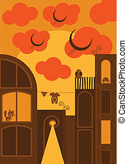 City vector background cartoon