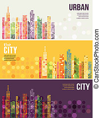 City - vector banners - The City - vector banners with...