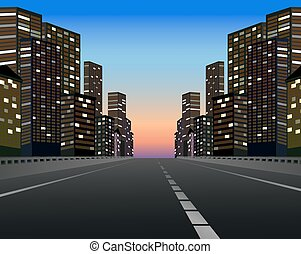 City - Illustration of an express way by the city