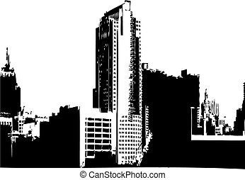 CITY VECTOR GRAPHICS - CITY SKYLINE VECTOR MONOCHROME IMAGE