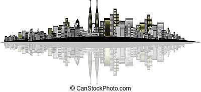 City Vector - Vector - Brightly lit modern city with...