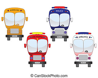 city vehicles set against white background, abstract vector...