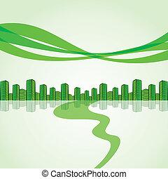 city-, verde, fuga