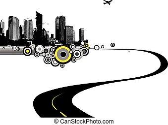 city., vettore, arte, strada