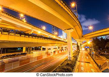 city viaduct closeup at night