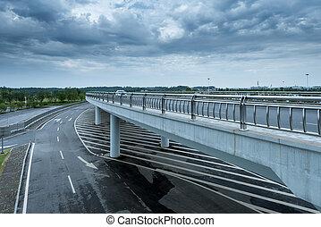 City viaduct - Under overcast skies, modern city viaduct.