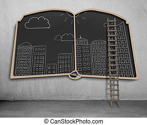 City view doodles on book shape blackboard with ladder