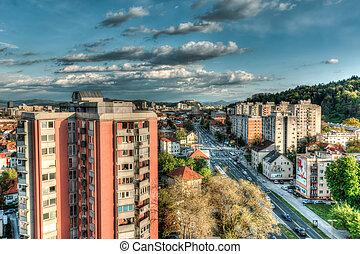 City view from a tower block, Ljubljana, Slovenia