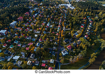 City view from the air of Forssa and small houses, Finland