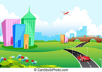 City View - illustration of city landscape with road and...