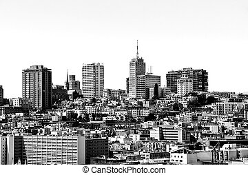 city view in black and white