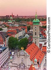 City view in Munich, Heiliggeist Church