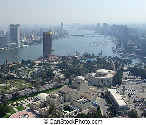 City view of Cairo from Gezira - misty aerial view of Cairo...