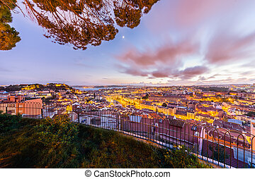 City View Of Lisbon After Sunset from Belvedere Of Our Lady Of The Mount