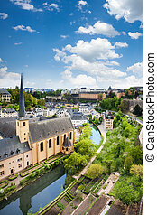 City view of Luxembourg with houses on Alzette river in ...