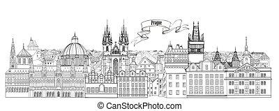City view. Prague old town landmarks skyline. Travel background