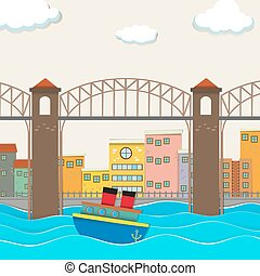 City view with bridge and boat