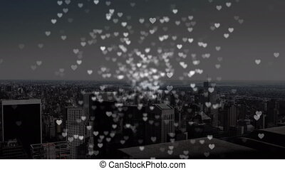 City view with digital hearts