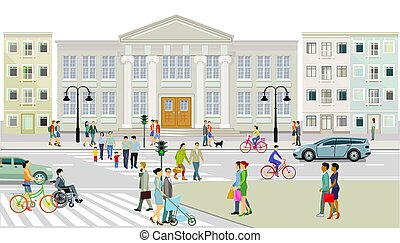 City view with pedestrian crossing and pedestrians, illustration.eps